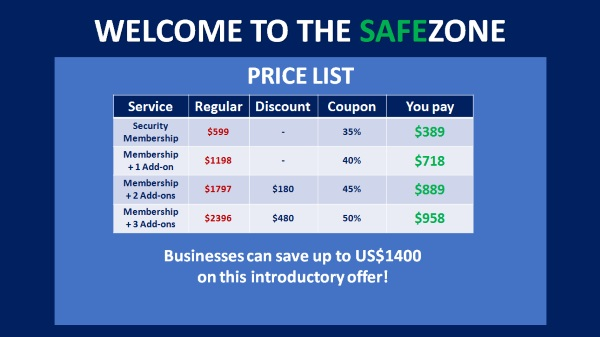 Welcome to the Safe Zone Price List